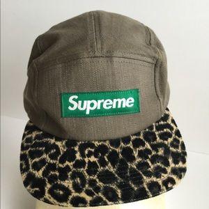 SUPREME Safari Camp Cap Leopard Print Hat Olive